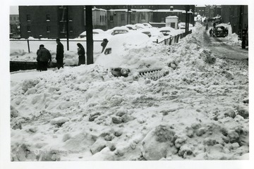 The view from Madison Street looking toward Jefferson Street in Fairmont, West Virginia during the big snow storm in 1950.