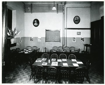 Interior of a Sunday school room in Andrew's Methodist Church in Grafton where Mrs. Anna Reeves Jarvis, mother of Anna Jarvis (Mother's Day Founder) taught primary school children.