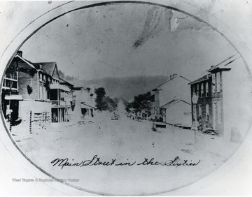 Wood frame houses line the Main Street in Grafton W. Va. during the 1860s.