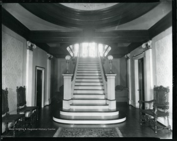 Interior view of the Bartlett Home in Grafton, W. Va., showing the main staircase.