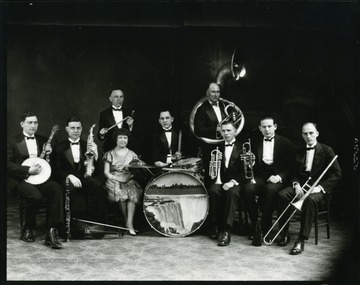 Group portrait of members of Morgan's Orchestra holding their instruments.