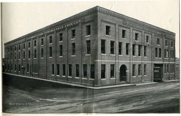 Image from 'Industrial and Picturesque Clarksburg, W. Va.' published by the Press of the Clarksburg Telegram Company, Printers and Publishers, Clarksburg, W. Va., 1911. 'The largest wholesale grocery house in West Virginia.'