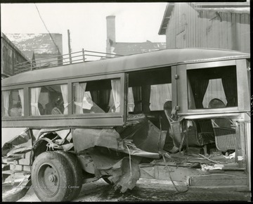 Close view of a Bartlett Brothers bus, that traveled between Grafton and Clarksburg, after a wreck.