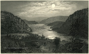 Engraving of Harpers Ferry by moonlight.  Entered according to Act of Congress A.D. 1874 by D. Appleton and Coin the Office of the Librarian of Congress, Washington.