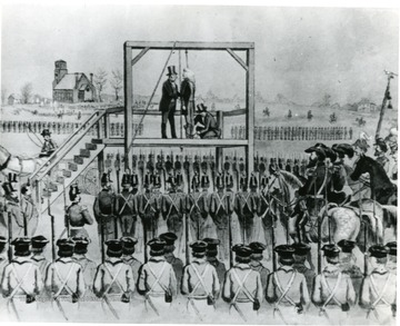Drawing of the hanging of John Brown at Charles Town, Jefferson County, West Virginia, approximately 12 miles from the site of his raid at Harpers Ferry.