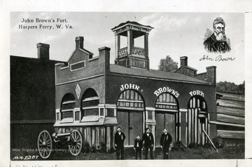 'A postcard view of the Fire Engine House used as fort by John Brown, Harpers Ferry; No objection to reproducing or publishing this picture provided credit line 'Photo by U.S. Army Signal Corps' appears on the photograph or page. Permission must be obtained from the War Department if it is desired for use in commerical advertising.'