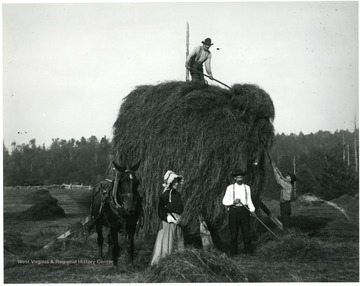 Henrietta and Ernest Hofer and others working in the field.  A horse is standing beside the pile.  Helvetia, W. Va.