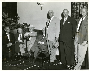 'Part of Parks and Playgrounds Committee. Organized 1921-reactiviated 07/01/1957. Left to right-Seated: John S. Walker, C. W. Thornburg, George S. Wallace, H.O. Dunfee. Standing: Lucian W. Blankenship, Coleman Staats, and Frank Wallace.'