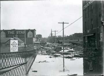 Flooded Market Street with debris in the water, Parkersburg, W. Va.