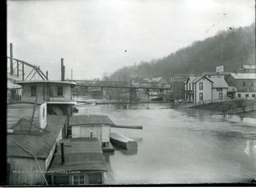 An unidentified street in Parkersburg, West Virginia is under water during the flood of 1913.