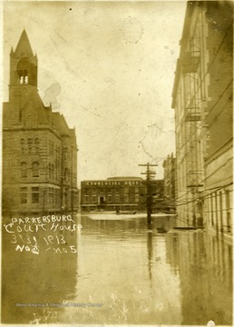 Flooded street outside of the Parkersburg Court House.