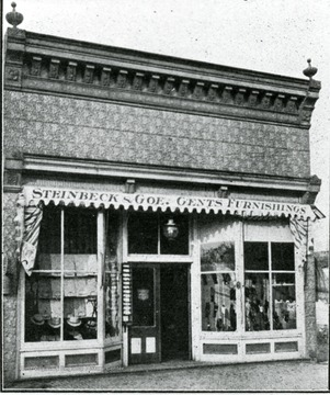 'For latest styles in men's shoes, hats, caps and furnishings go to Steinbeck and Goe, Second Street, near bridge, Weston, W. Va.  Ladies', Misses' and children's shoes and hosiery a specialty.  Sole agents for the Dolly Madison shoe for women and the Crossett shoe for men.  'The better the grade the bigger the trade.''