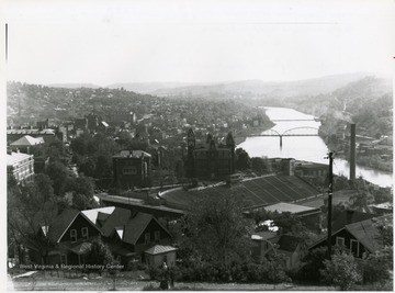 A view of the river and West Virginia University's main campus from Lorentz Avenue. The Morgantown/Westover Bridge is in the distance.