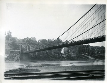 The bridge as seen from the bank of the Monongahela River looking toward Westover.
