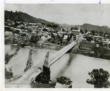 View of Morgantown, West Virginia from the Westover side of the Suspension Bridge.