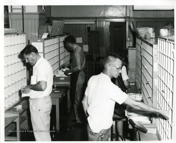 Four postal workers are sorting letters in the interior of the Morgantown Post Office, Morgantown, West Virginia.