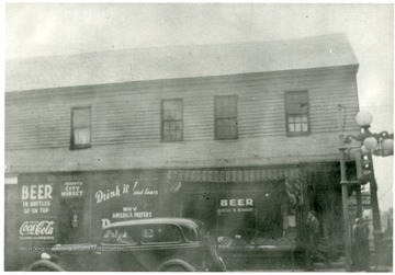 'On the S. W. corner of Pleasant and High Streets.  First two story building in Morgantown.'