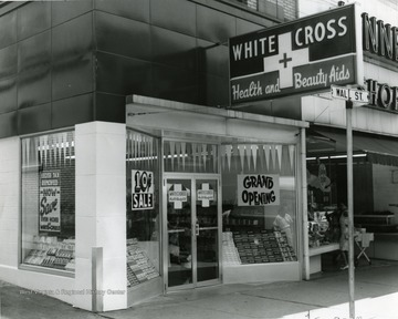 White Cross Store near the time of the grand opening. Located on Wall Street in Morgantown, W. Va.