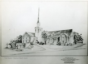 Skethc of the perspective Church and Sunday School, Drummond Chapel Methodist Church, Morgantown, W. Va done by Giffin and Keemer, registered architects, Fairmont, W. Va.