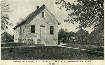 "Front of Drummond Chapel M.E. Church, ""The Flats,"" Morgantown, W. Va."