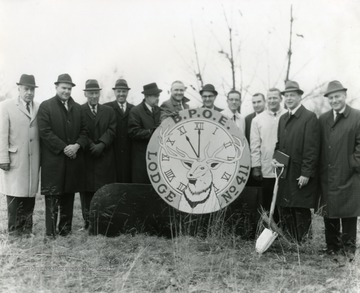 Group portrait of men at the groundbreaking for the new Elks Lodge located on Chestnut Ridge Road in Morgantown, West Virginia.