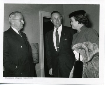 President Harry Truman, Hulett Smith, Violet Snedegar of Elkins at the Hotel Morgan, in Morgantown, West Virginia.