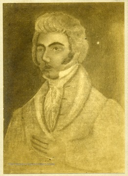 'Colonel Zackquill Morgan 1735-1795. Founder of Morgantown, West Virginia. Photo taken of an oil painting.'