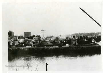'Looking South West from Monongalia River Bridge to Baltimore and Ohio Depot and Hotel Morgan.'