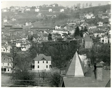 View of area of North High St, Wiles Hill, Spruce St. and Forest Ave. showing the bridge across Deep Hollow Run in Morgantown, W. Va.