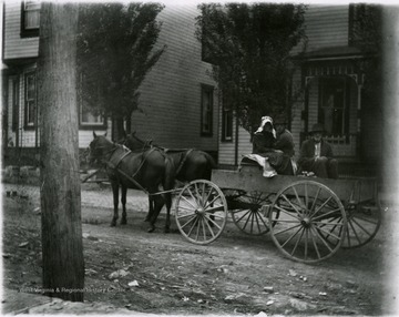 Two men and a woman seated on a horse and buggy on Willey Street.