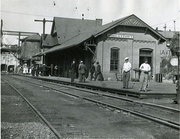 People standing in front of the B&O Railroad Depot.