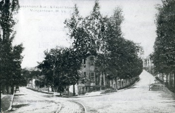 A picture postcard of Beechurst Avenue and Front Street in Morgantown, West Virginia.