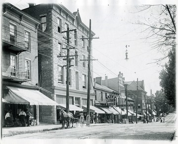 View of buildings on High St. Section Between Wall St. and Walnut St. Morgantown, W. Va.