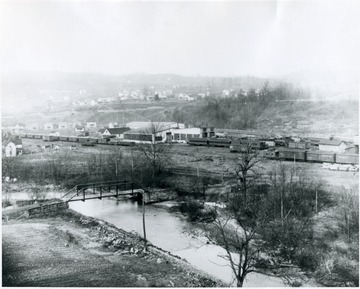 Distant view of M&K railroad shops.