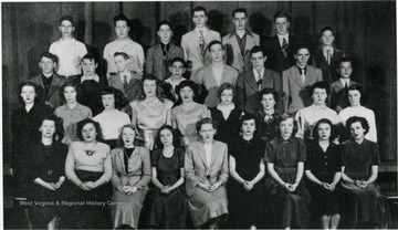Group portrait of homeroom 104 from the 1950 Morgantown High School yearbook.