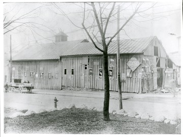 View of Wallace House Stables facing the Junior High site on Spruce Street in Morgantown, West Virginia.