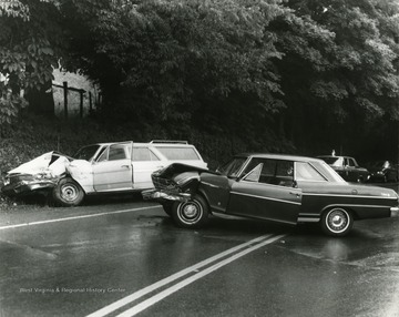 Two damaged cars at the scene of the accident.