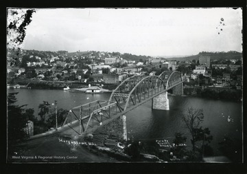 A picture postcard of a view of Morgantown, West Virginia from Westover.