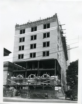 Construction on the Hotel Morgan building.