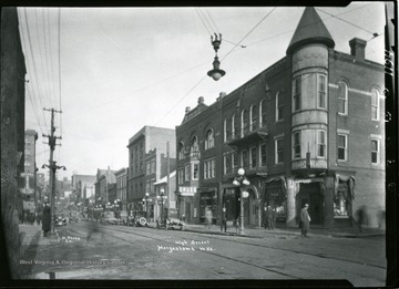 A view of High Street, at the corner of Pleasant Street in Morgantown, West Virginia.
