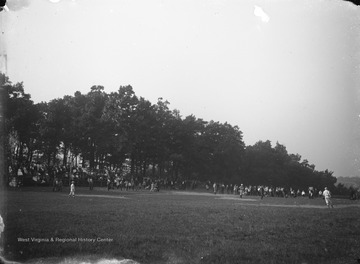 View of a baseball game played in Morgantown, West Virginia.