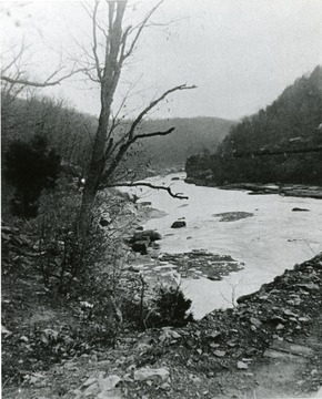 View of the New River at Gauley Junction that has been frozen over.