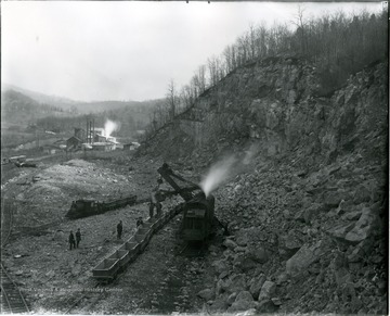 Steam shovel working at the Acme Limstone Quarry in Greenbrier County.