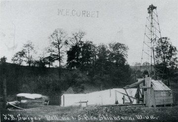 Oil derrick, buildings, and other equipment at the J. B. Swiger well No. 1, South Penn (?) Oil Company, Shinnston, W. Va.