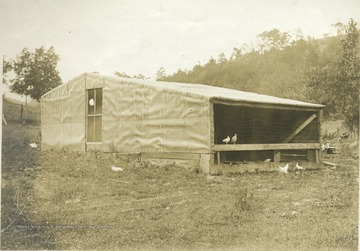 'Poultry house of Mr. E. J. Rankin, R.F.D. 1,Ravenwood. A Tolman poultry house 14' x 22', holding 100 fowls. This is one of three types of poultry houses best adapted to Jackson County.' From photo album labeled 'Stewart A. Cody, County Agent, Jackson County, 1912.'