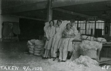 A group of four women workers at the Fokker Plant.