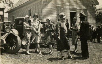 People gather for a June meeting held at the Indian Creek Primitive Baptist Church in Greenville. In this picture: 'Helen, 'Toots' (Ernestine Wysocha,) and 'Evie' (Evelyn Somers.)'