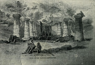 View of the Ruins of the Colonade Bridge (B. and O. R. R.) Destroyed by Gen. Stonewall Jackson in 1861.
