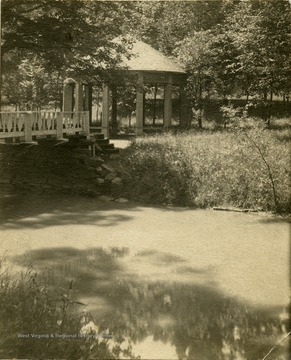 A view of the spring house at Salt Sulphur Springs.