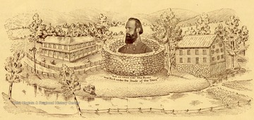 A drawing of Jackson's Mill and Stonewall Jackson with a quote underneath his portrait.